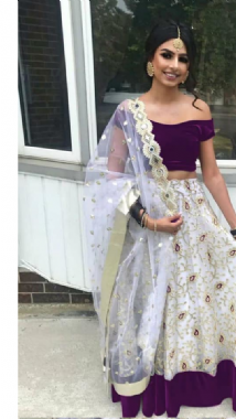 Purple Velvet Blouse With Patterned Lehenga